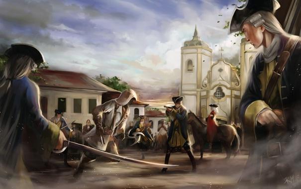 Фото обои люди, арт, церковь, солдаты, assassins creed, арена, ассасин