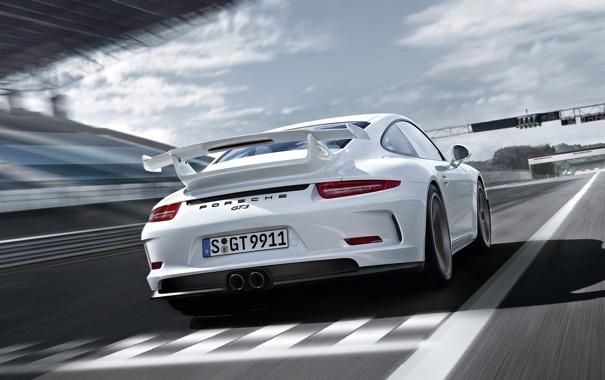 Фото обои авто, разметка, трасса, 911, Porsche, GT3, задок