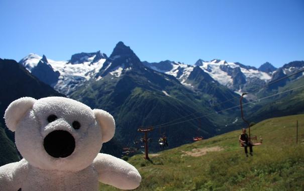 Фото обои горы, природа, настроение, игрушка, мишка, путешествие, Домбай