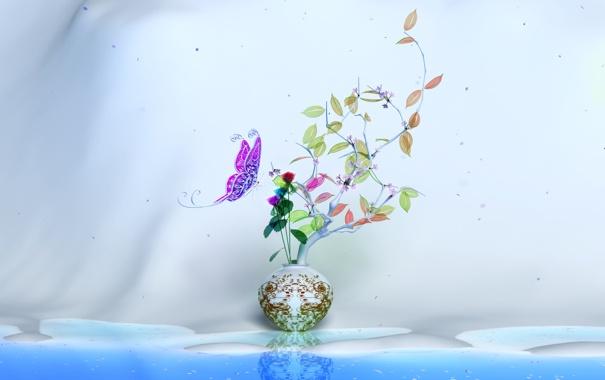 Фото обои листва, ваза, бабочька, Grand Waltz brilliant