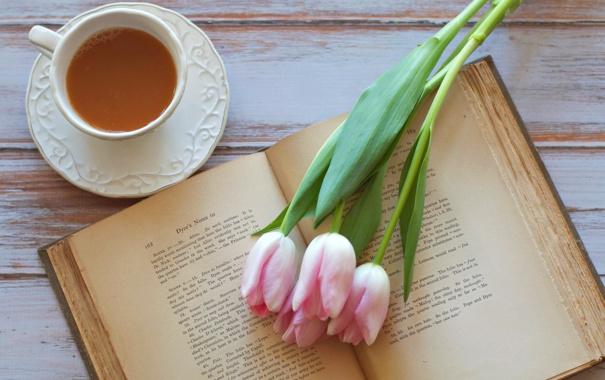 Фото обои любовь, цветы, чай, тюльпаны