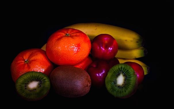 Фото обои фон, краски, киви, фрукты, банан, мандарин