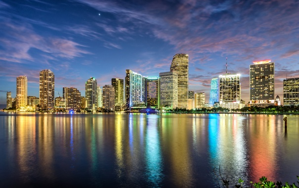 Фото обои закат, город, огни, океан, здания, Майами, небоскребы