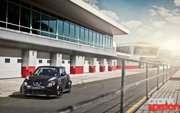 Фото обои небо, чёрный, здание, Prototype, Nissan, прототип, ниссан