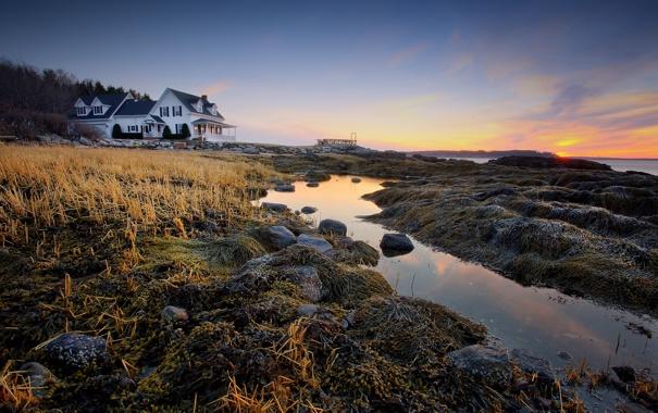 Фото обои пейзаж, закат, дом, камни