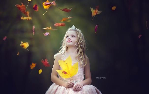 Фото обои листья, настроение, девочка