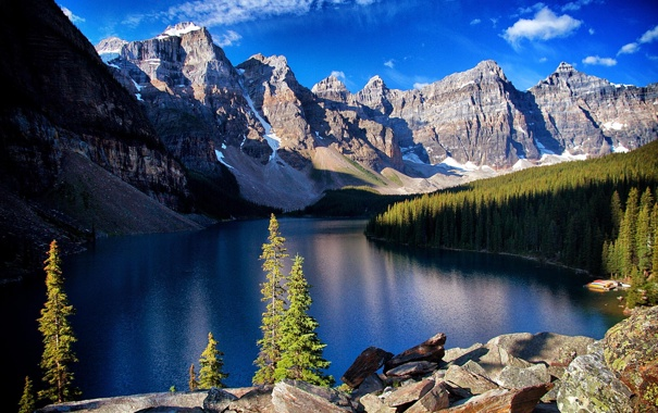 Фото обои лес, снег, горы, озеро