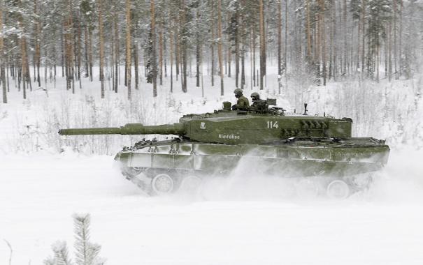 Фото обои зима, леопард, танк, leopard