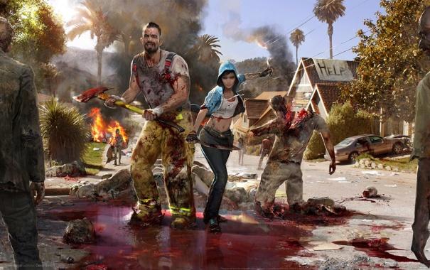 Фото обои zombies, woman, man, swords, knives, dead island 2, machetes and axe
