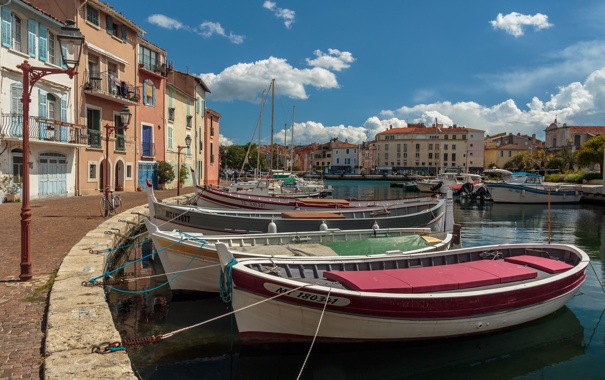 Фото обои море, дома, бухта, лодки, набережная, Мартиг, Фрпнция
