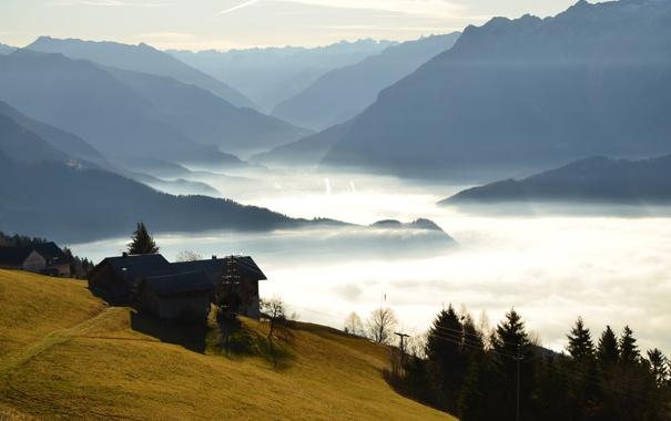 Фото обои леса, горы, домик, утро, туман