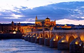 Обои ночь, мост, огни, река, дома, Испания, Кордова