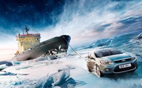 Обои ледокол, ice, небо, форд, буксир, ford, снег