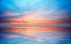 Обои простор, пейзаж, закат, горизонт, солнца, море