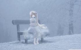 Картинка холод, зима, скамейка, арт, лавочка, девочка, vocaloid