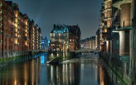 Обои ночь, огни, канал, мосты, Гамбург, Speicherstadt, Шпайхерштадт