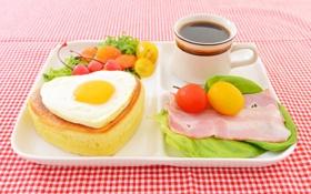 Обои яйцо, кофе, завтрак, помидоры, томаты, бекон, булочка