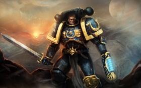Картинка фантастика, меч, солдат, броня, warhammer, ultramarines, Warhammer 40K