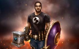 Обои молот, очки, мужчина, борода, щит, world of warcraft, fan art