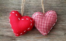 Картинка сердца, сердечки, ткань, красная, подушечки