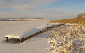 Обои зима, снег, мост, озеро