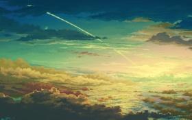 Обои облака, juuyonkou, небо, след, арт, высота