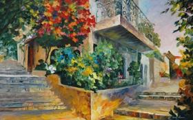 Обои пейзаж, цветы, лестницы, балкон, живопись, Leonid Afremov, городской