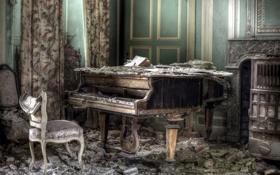 Обои музыка, рояль, комната
