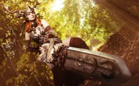 Картинка девушка, фантастика, меч, доспехи, шлем, броня, косплэй