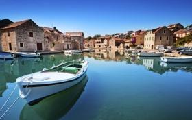 Обои небо, лодки, море, берег, дома, остров, Хорватия