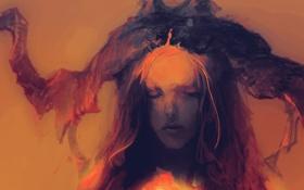 Картинка лицо, Девушка, рога, волосы