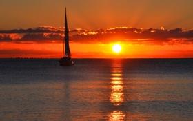 Обои море, небо, пейзаж, закат, отражение, паруса