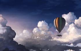 Картинка небо, облака, высота, воздушный шар