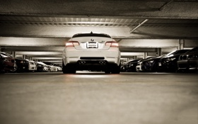 Обои белый, bmw, бмв, купе, освещение, парковка, автомобили