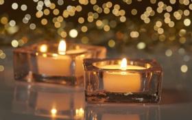Обои огонь, свечи, Christmas, блик, New, decoration, Holidays