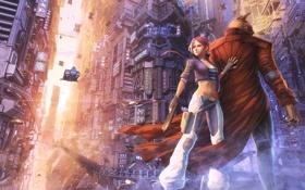 Обои город, огни, оружие, Девушка, монстр, летательные аппараты