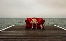 Обои гроза, кот, диван, горизонт, пирс, мужчина, моря