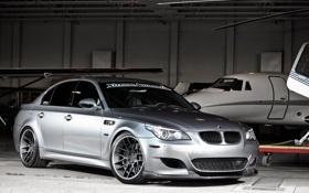 Обои silver, самолёт, серебристый, wheels, e60, бмв, bmw