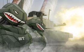 Обои фантастика, робот, акула, арт, танк, киборг