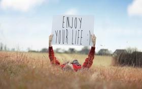 Картинка поле, небо, свет, жизнь, Enjoy your life