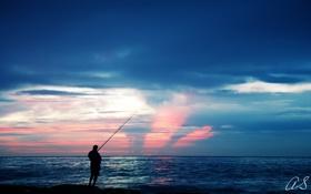 Картинка море, пейзаж, рыбак