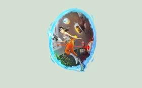 Картинка девушка, портал, герой, portal, chell