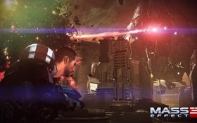 Обои Mass Effect, Шепард, Жнец, Лазер