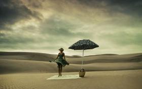 Обои девушка, пустыня, зонт