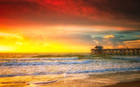 Картинка море, небо, облака, закат, горизонт, пирс, прибой