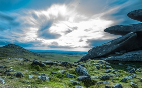 Обои небо, облака, горы, камни, панорама