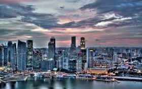 Обои небо, закат, город, Singapore