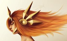 Картинка девушка, лицо, волосы, игра, арт, профиль, league of legends