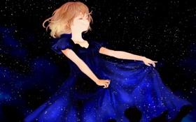 Обои звезды, ночь, улыбка, Девушка, синее платье