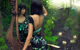 Обои модель, Девушка, свечи, зеркало, брюнетка